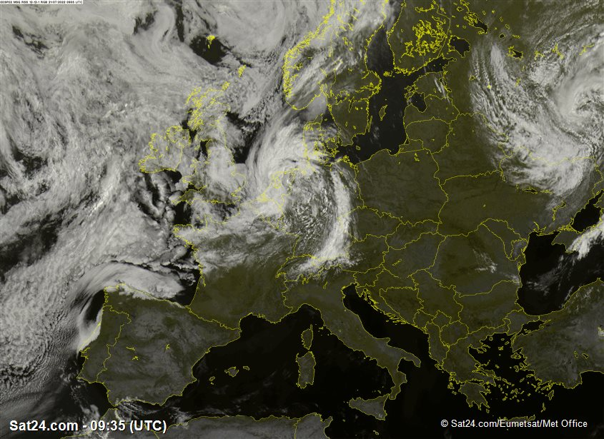 image satellite de l'europe